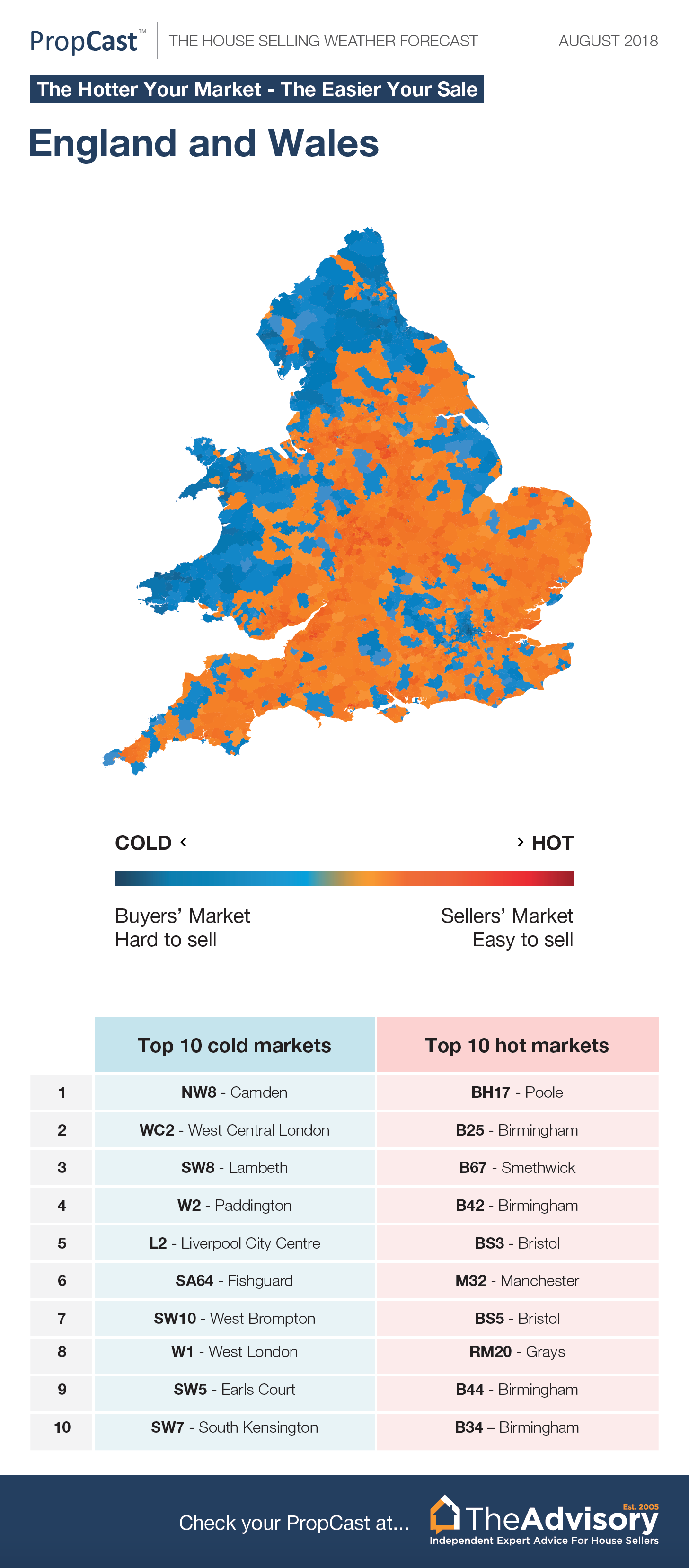 MAPPED: Best & Worst Places To Sell A Home In England & Wales (Aug 2018)