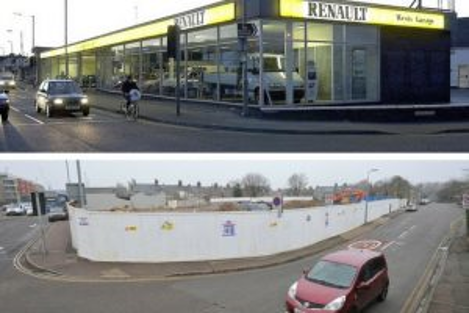 West's Garage – Before and After. Images courtesy of Cambridge News